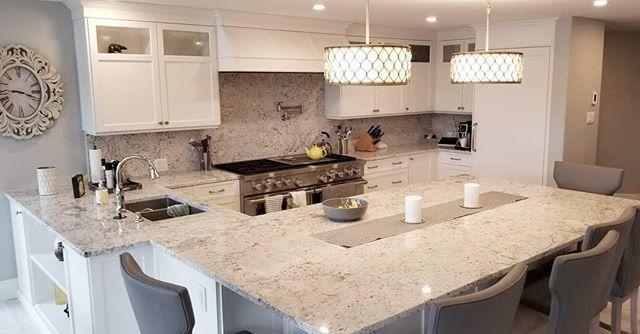 Fantastic White Granite Kitchen Countertops White Cabinets