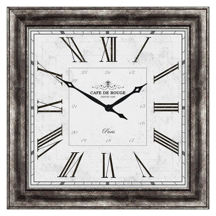 40 X 40-in Traditional Silver Roman Numeral Clock with Silver Face - At Home