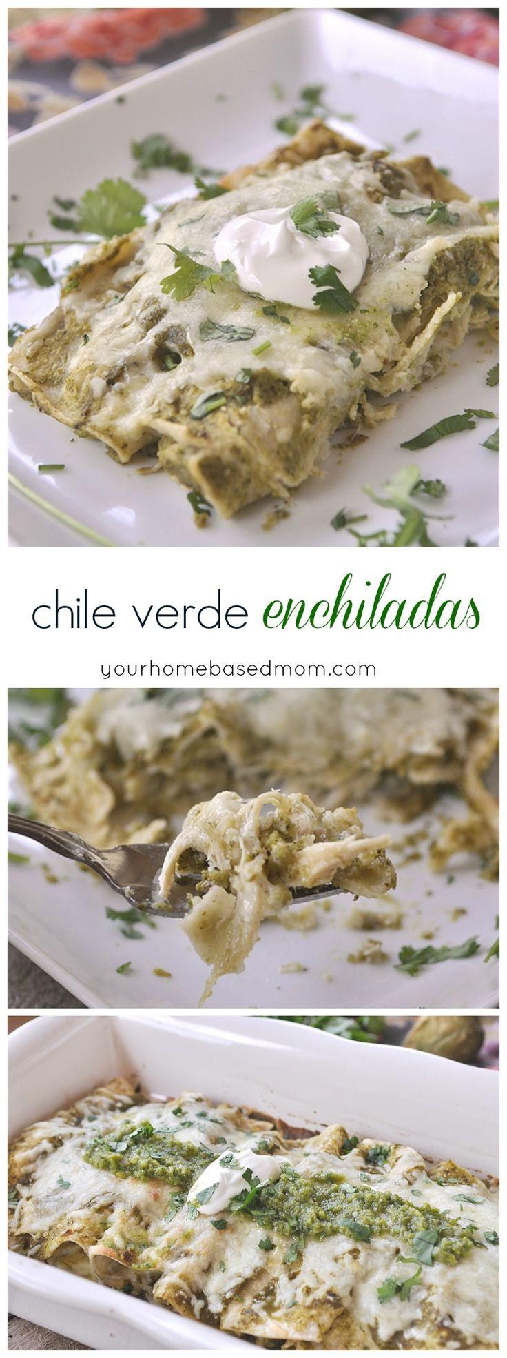Chile Verde Enchiladas - shredded chicken - white onion - olive oil - garlic clove - salt - cilantro - tomatillos - jalapeno - poblano chile - chicken broth - sugar - corn tortillas - grated Monterey jack cheese