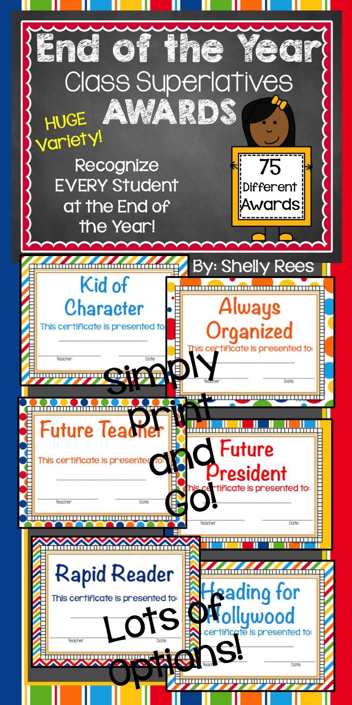 End of the Year Class Superlatives Awards! 75 Certificates will make end of the year easy and fun!  Students will love these.