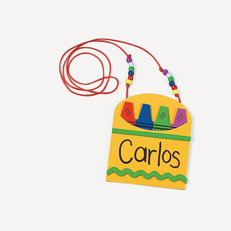 Back-To-School Name Tag Necklace Craft Kit - OrientalTrading.com