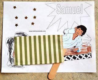 God Calls Samuel Preschool Project in color and black & white