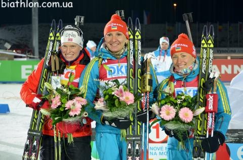 I watch biathlon for the moments like this!!! Olena (UA), Tora (NOR) and Vita (UA)!!   Nove Mesto na Morave 2013  Women sprint