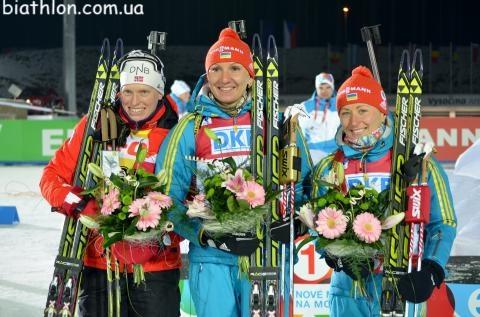 I watch biathlon for the moments like this!!! Olena (UA), Tora (NOR) and Vita (UA)!!   Nove Mesto na Morave 2013  Women sprint