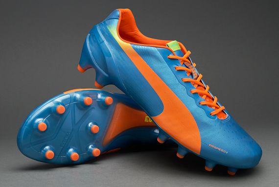 Puma Football Boots - Puma evoSPEED 1.2 FG - Firm Ground - Soccer Cleats - Sharks Blue-Fluro Peach