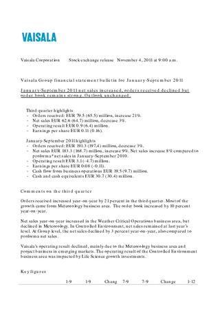 Vaisala Financial statement Q3 2011
