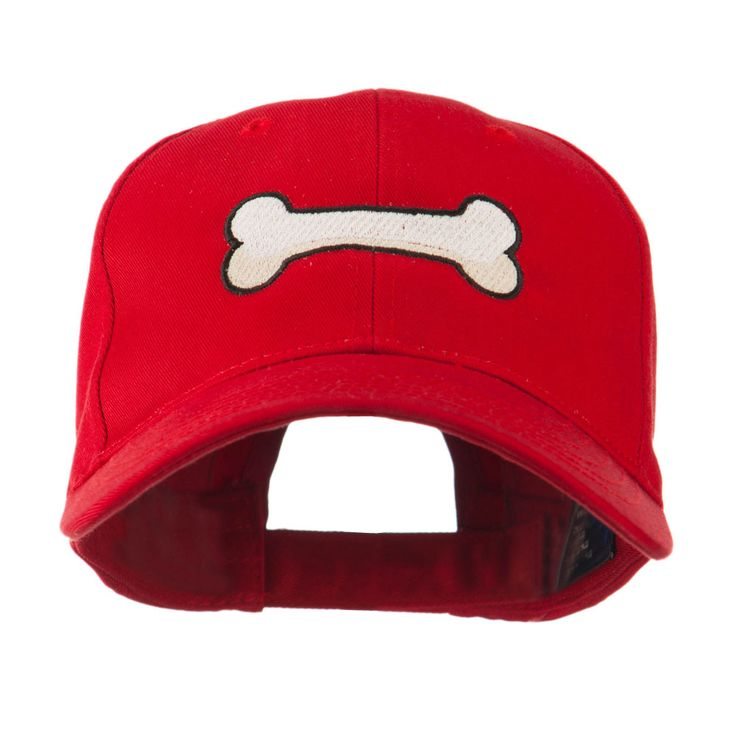Dog Bone Shape Embroidered Cap - Red