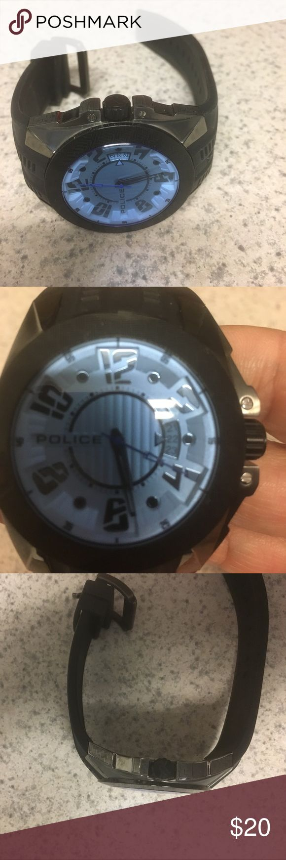 Men's digital watch Police brand new hardly worn Black Police Brand Men's watch stylish and digital! Hardly worn with no imperfections police Accessories Watches