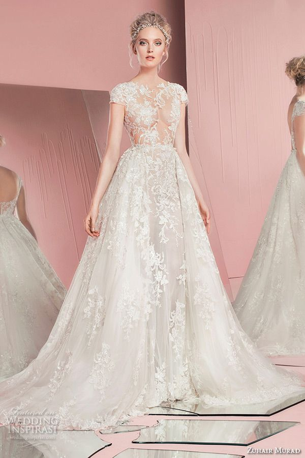 zuhair murad spring summer 2016 bridal jewel neckline cap sleeves lace embroidery white sheath wedding dress with overskirt a line perla