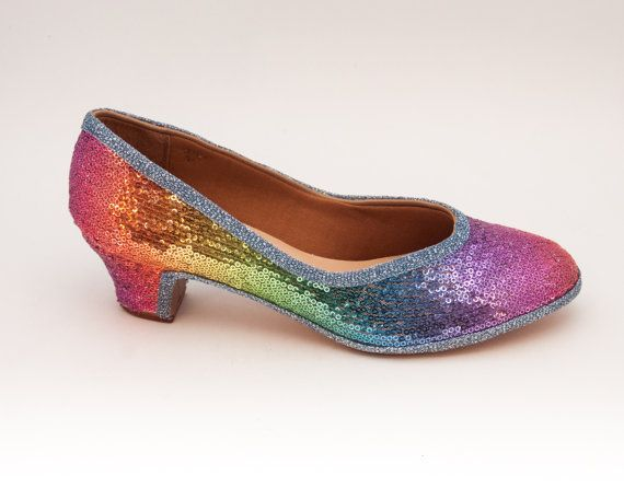 Sequin  Rainbow Multi Colored French High Heels by princesspumps