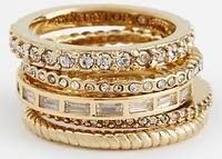 Ann Taylor Crystal Stacked Ring Set In Gold (Gold)