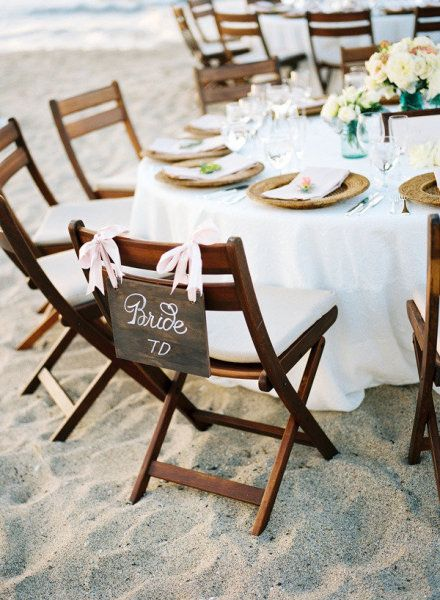 The warm California sun makes it possible to have both the beach wedding ceremony and reception outside!