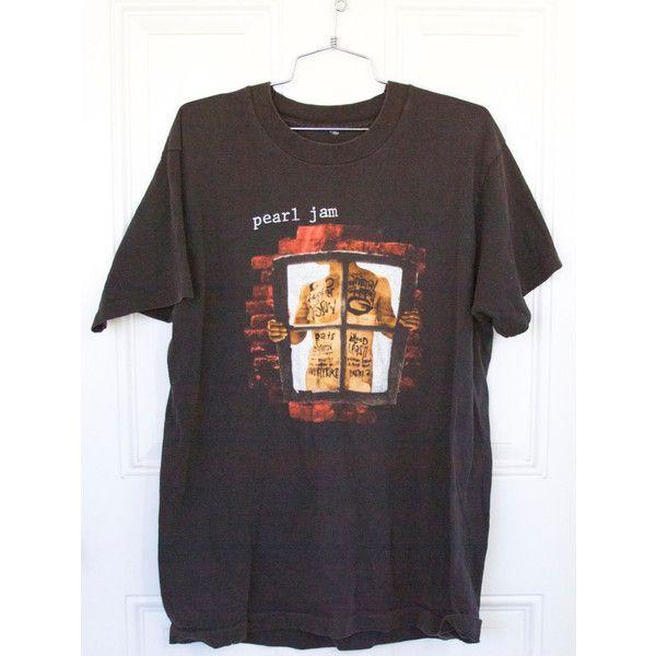 "Vintage Pearl Jam ""window pain"" concert t shirt; pearl jam concert tee ❤ liked on Polyvore featuring tops, t-shirts, vintage tops, pearl t shirt, vintage tees, vintage t shirts and vintage shirts"
