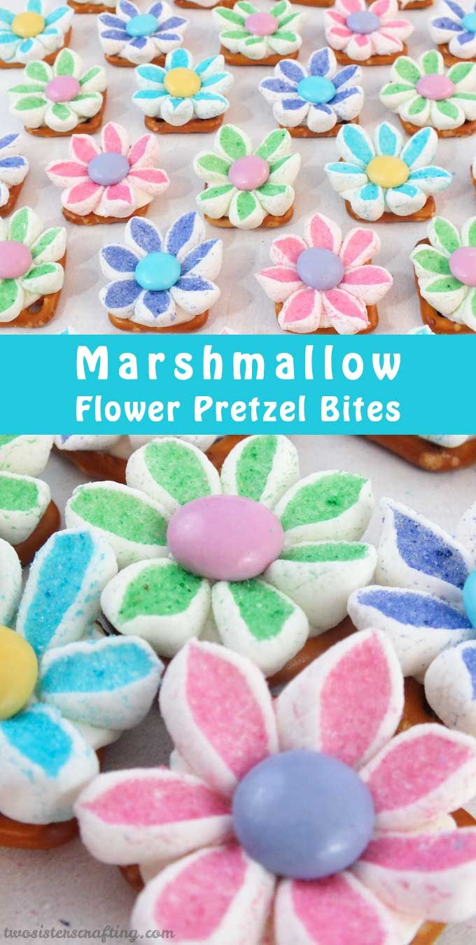 Our Marshmallow Flower Pretzel Bites are a wonderful bite of sweet and salty goodness - so pretty and so yummy.  They are a perfect treat for Mother's Day, Sunday Brunch, a Baby Shower or just anytime!  For more great Pretzel Bite ideas, follow us at https://www.pinterest.com/2SistersCraft/
