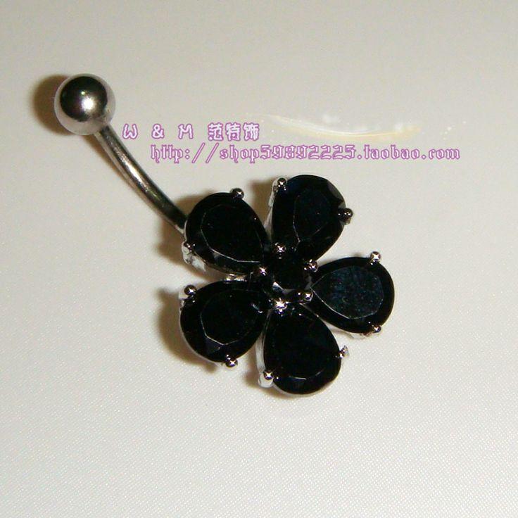 Medico in acciaio anti- allergica zircone afferrare il trapano specchio ago fiore ombelicale ombelicale chiodo diamante nero anello