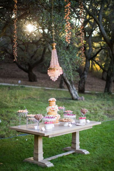 Gorgeous dessert table: http://www.stylemepretty.com/2014/09/26/understated-elegance-at-malibus-saddlerock-ranch/ | Photography: Nancy Neil - http://lovenancyneil.com/
