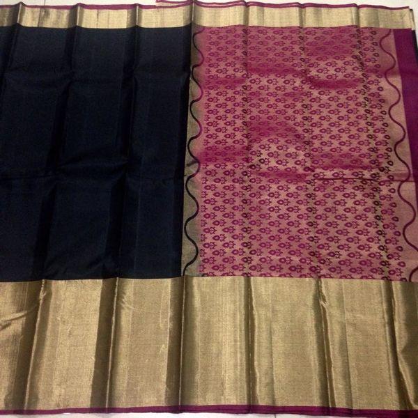Buy KSS6700014-THAMBOORI's Handwoven Kanjeevaram Silk-Long border-Black with wine color beauty, 7950 online - Handwoven Kanchivarams,Soft Silks, Silk Cottons and Tussars!