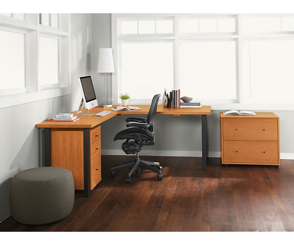 Room & Board - Parsons Legs L-Shaped 60x30 29h Desk with 36x18 Left Return