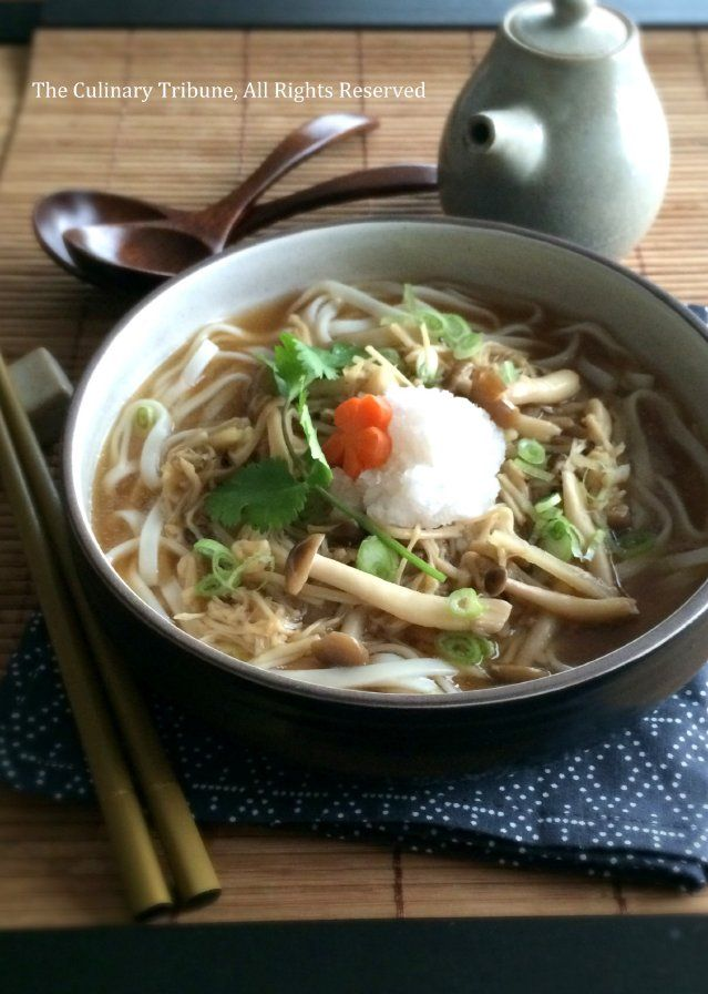 Buna Enoki Mushroom Udon Soup きのこうどん | The Culinary Tribune