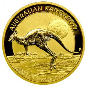 The 2015 Australian Kangaroos are one of our favorite modern gold coins and are produced by the Perth Mint. They combine great features of being genuine legal tender, mintages that are strictly limited, and a design that changes every year.   Each one is minted in a quarter ounce of 99.99% fine gold to the highest standards of proof-like quality and comes in a hard plastic capsule .