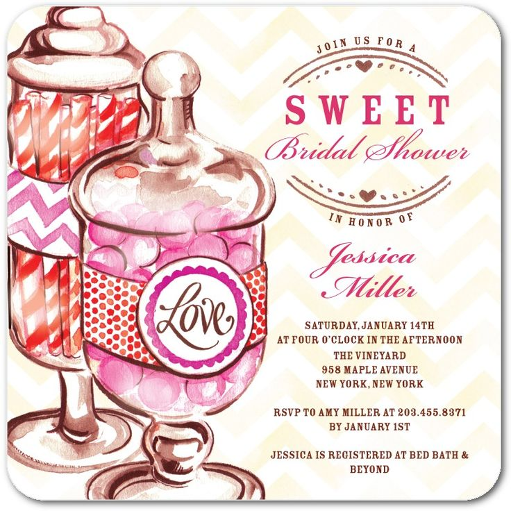 Join Us For A Sweet Bridal Shower - Signature White Textured Chevron Bridal Shower Invitations in Pink