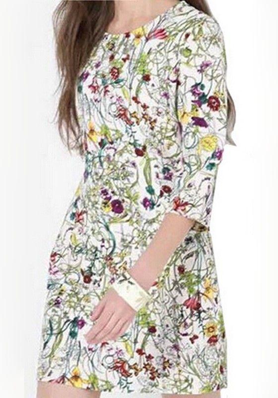 Multicolor Floral Print Seven's Sleeve Dress
