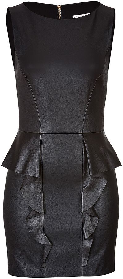 Emilio Pucci Leather Dress with Ruffled Peplum