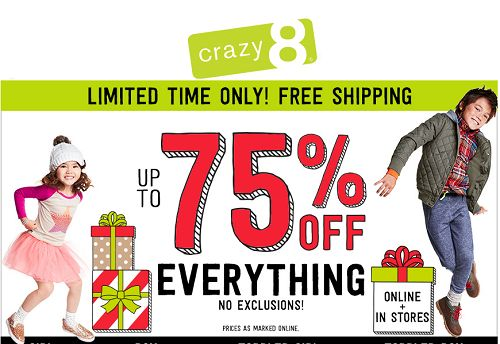 Crazy 8 Black Friday Sale - Up To 75% OFF + FREE Shipping On All Orders! - http://couponingforfreebies.com/crazy-8-black-friday-sale-75-off-free-shipping-orders/