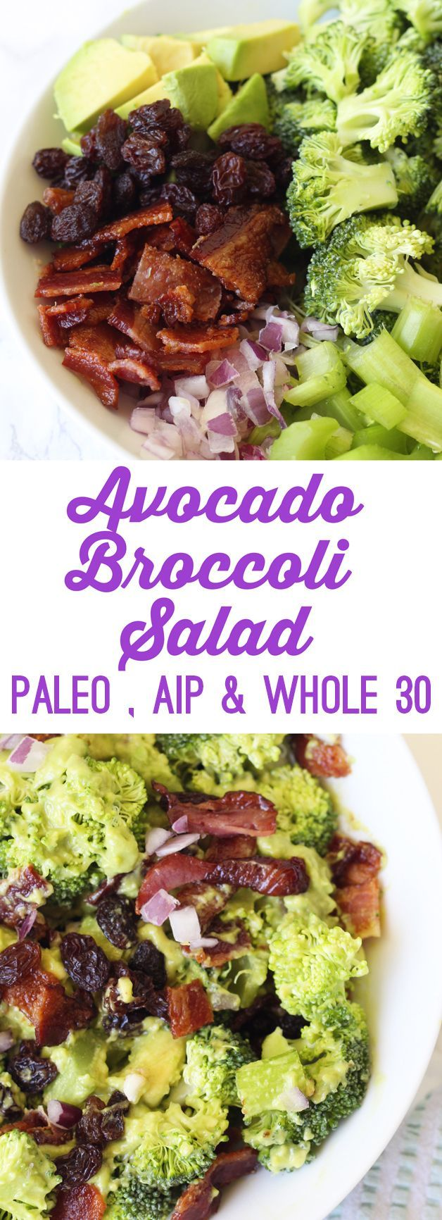 Avocado Bacon Broccoli Salad (Paleo, AIP, Whole 30)