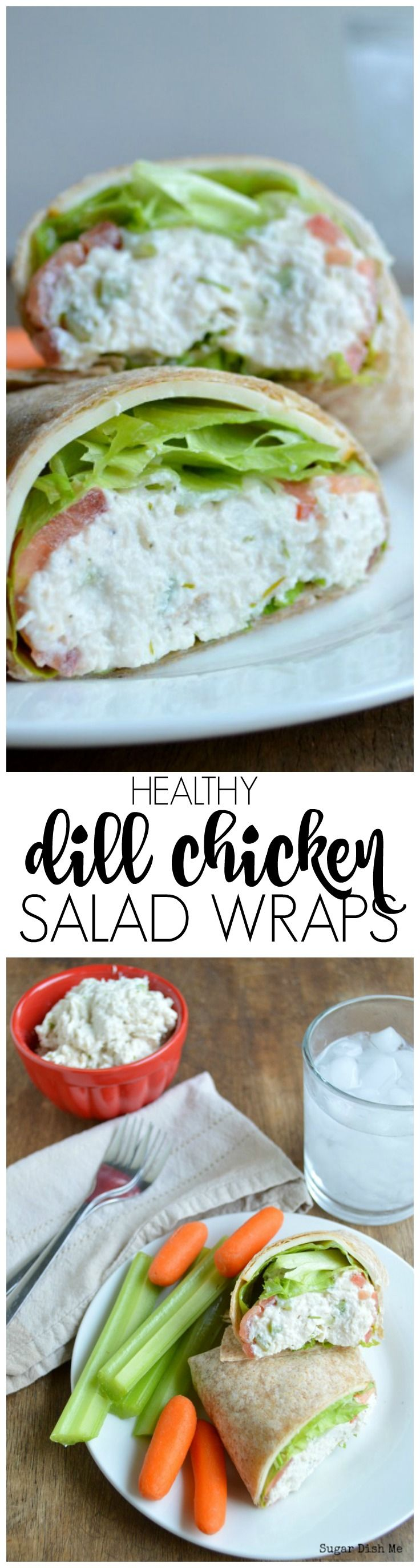 Healthy Dill Chicken Salad Wraps are made with Greek yogurt for extra protein and lots of flavor!