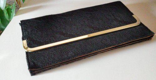 Esprit de.corp Clutch Abendtasche schwarz, gold mit Spitze - wie neu | Mädchenflohmarkt
