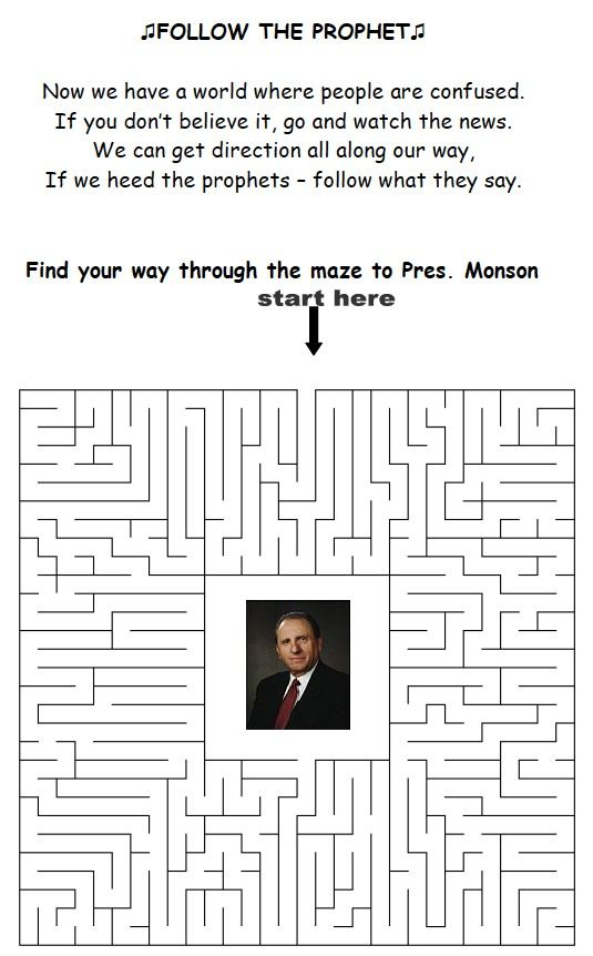 "LDS Games - ""Follow The Prophet"" Maze Free Printable"