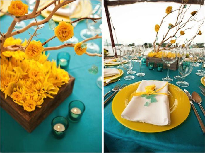 Turquoise And Yellow Wedding Ideas: 66 Best Cobalt Blue, Yellow, Orange Wedding Images On