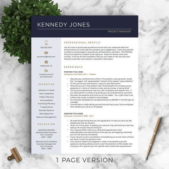 37 best Modern Resume Templates images on Pinterest Plants - resume 1 page
