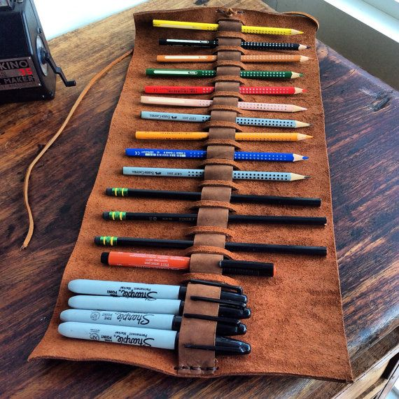 Warrington pencil case, handmade leather pen roll, leather wrap, pencil pouch, handmade leather holder, pen sleeve, artist roll, Aixa Sobin