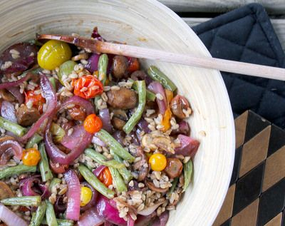 Farro Salad with Roasted Vegetables and Caramelized Onions |