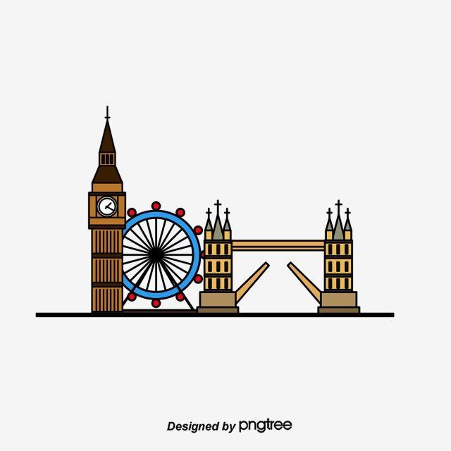 Gambar London Uk Langit Bandar Seni Bina Unsur Unsur London Kartun Big Ben Png Dan Psd Untuk Muat Turun Percuma