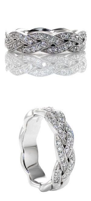Delicate and graceful braided band. The micropave diamonds really give the piece an extra bit of sparkle. A classically beautiful ring. Legato Wedding Band. www.knoxjewelers.biz
