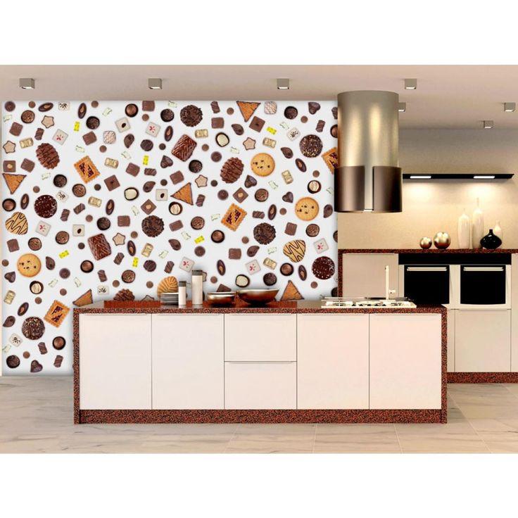 Vai pazzo per i dolcetti?  Biscotti al cioccolato si presentano benissimo non solo sul piatto:) #cartadaparati #cartedaparati#magma #percucina #dolcettiperparete #motivodibiscotto #artgeist