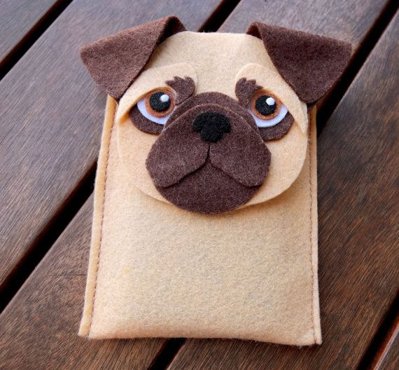 Pug iPhone Case - Dog Felt Phone Cover - Cell Phone Sleeve - Handmade felt case