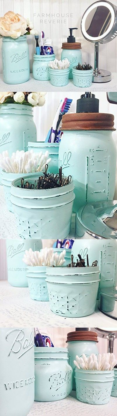 Vintage Blue Rustic Mason Jar Bathroom Set (Cute Blue Storage Set Spring 2017 Modern Vintage Country Farmhouse Primitive Shabby Chic Home Decor; Wedding Gift, Birthday Gifts for Her, for Mom) #girlsshabbychicbathrooms