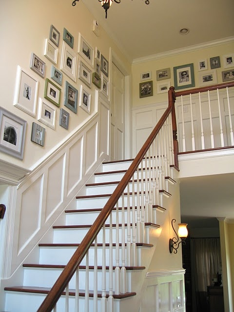 Gallery wall up the stairs: Upstairs Hallways, Photo Display,  Balustrade, Galleries Wall, Photo Wall, Frames Collage, Pictures Frames, Pictures Wall,  Balusters