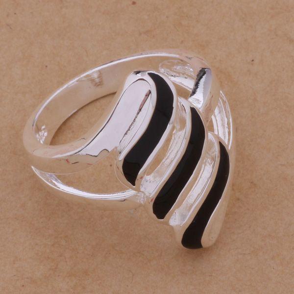 AR176 Hot 925 sterling silver ring, 925 silver fashion jewelry, Black feathers /ajtajbaa aknajbua