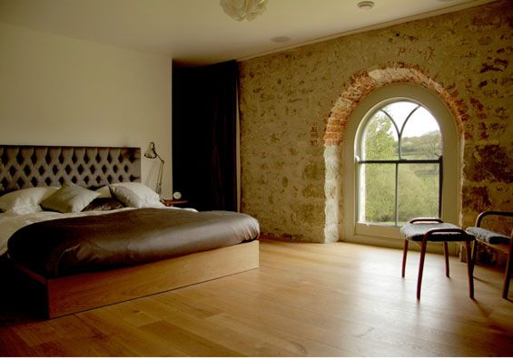 design by gary tarn: Dreams Bedrooms, Round Window, Features Wall, Brick Wall, Modern Architecture, Old Church, Arches Window, Church Conver, Modern Home