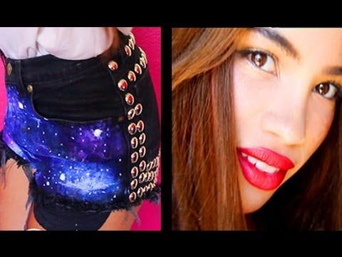 DIY Galaxy Shorts        My lipstick is Wet n Wild Mega Last Lip Color in siren red. This video was requested a lot so I wanted to get it out before summer is over. I hope you like it!    Items used:  Jacquard Textile Colors Fabric Paint (white, blue, purple)  Nailheads Spots Studs 2 Prong 16MM Round; Ste...