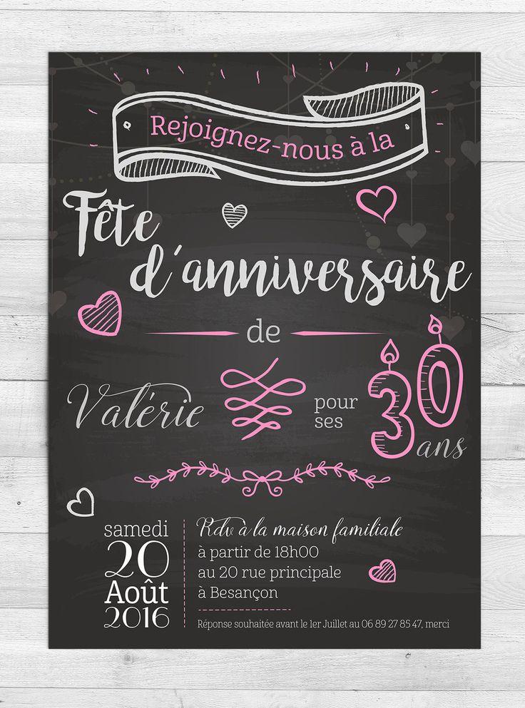Invitation Anniversaire Romantique : Faire-part par Milliegraphie. N'hésitez pas à me contacter pour une commande :)