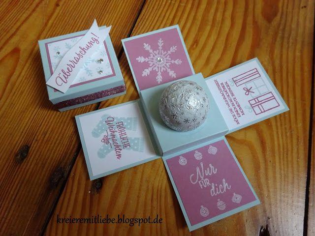 """Mein erster Blog Hop :) Und dabei bin ich schon seid über einem Jahr in dem Team """"Stempelmami""""... aber lieber später, als nie. ;) Unser Blog Hop Thema war: Gestalte etwas mit den Farben Zarte Pflaume, Himmelblau, Flüsterweiß und Glitzer. Und auch wenn die Farben nicht gerade auf das Weihnachtsfest schließen lassen, habe ich mich für eine winterliche/ weihnachtliche Explosionsbox entschieden, in die ein """"Schneeball"""" hineinpasst. ;) Genutzt habe ich natürlich Stampin' Up! Materialien und…"""