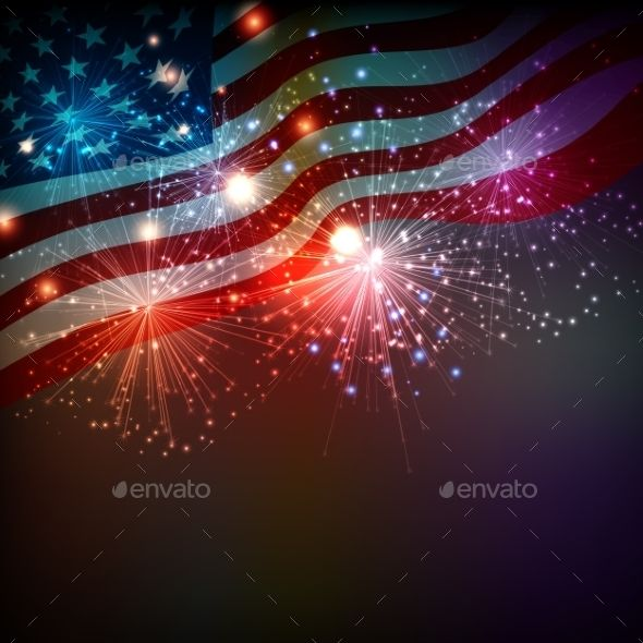 Fireworks Background for 4th of July by marigold_88 Vector illustration. EPS 10