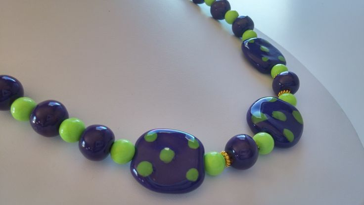 African Kazuri beads and Lime Green Turquoise necklace and earrings, OOAK by DancingBird1550 on Etsy