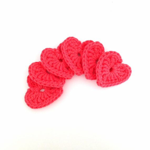 Order this listing and youll receive a set of 6 crochet chunky hearts, made out of supersoft material. Every heart is 6cm wide and high. The